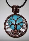 Handmade Wire wrapped Antique Copper wire Turquoise Tree of life