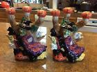 Fitz and Floyd halloween tree stump witch 3 candle holder (2)