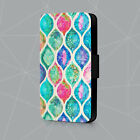 Watercolor Ogee Patchwork Design Peacock Leather Phone Case Flip Cover