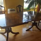 Vintage Solid Mahogany Duncan Phyfe Table w/ 6 chairs and 3 Leaves