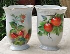 VINTAGE PAIR OF TMJ JAPAN HAND PAINTED PORCELAIN VASES - APPLES