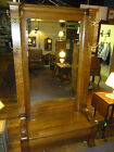 Antique Oak Hall Rack Seat, Hat Coat stand w/ lift seat solid tiger 1/4 sawn oak