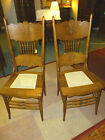 Antique Oak Press Back chairs 2 cane seats refinished 1900's victorian