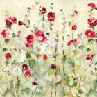 Hollyhocks Row Cool Crop by Cheri Blum Art Paper, Canvas or Stretched Canvas