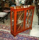 Beautiful English Solid Mahogany Glass Door Display Cabinet With 2 Glass Shelves