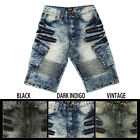 NEW ACCESS AS16129 WASH JEAN SHORTS MOTORCYCLE PANTS BIKER CARGO