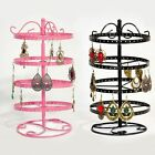 4-Tier Metal Rotating Jewelry Stand Earring Necklace Display Holes Holder Rack