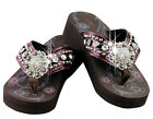 Montana West Large Rhinestone Concho Accented Wedge Flip Flops SE16 S001 BD