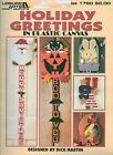 USED HOLIDAY GREETINGS SANTA EASTER BUNNY HALLOWEEN PLASTIC CANVAS PATTERN BOOK
