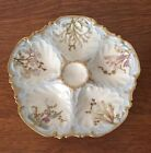 Beautiful Antique Limoges Hand Painted Oyster Plate Flowers Gilt Decorated !!!