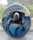 Eickholt Paperweight Dated 1988 Blue Creature Eye Bubbles