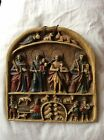 Beautiful altarpiece, hand carved in alabaster, colonial saints, polychrome