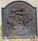 Antique Cast Iron Fireplace Cover w/Stand, Heat Deflector, Bears Dancing 19.5