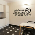 Cats leave paw prints on your heart Vinyl Decal Wall Quote cat lover art L190