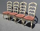 Set of Four Vintage Hill Mfg French Country Ladderback White Dining Room CHAIRS