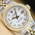 ROLEX LADIES OYSTER PERPETUAL DATEJUST WHITE DIAL YELLOW GOLD/SS DIAMOND WATCH