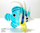 Blue White Yellow Fish Miniatures Hand Blown Glass Animal Figurine Collectible