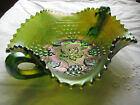 Northwood Green Grape and Cable Carnival Glass Basketweave Handled Bon Bon Bowl