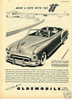 1949 GM Oldsmobile Olds Rocket 88 Convertible Coupe Car Print Ad