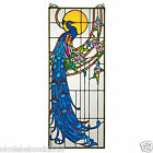STAINED GLASS WINDOW REGAL ROYAL PEACOCK W ROSES IN RICH JEWELED TONES