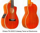 OHANA TK 20CE Cutaway Tenor Ukulele with Electronics Installed