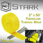 2 x 50FT Exhaust Header Fiberglass Heat Wrap Tape w 5 Steel Ties Yellow H