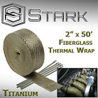 2 x 50FT Exhaust Header Fiberglass Heat Wrap Tape w 5 Steel Ties Titanium H