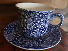 Vintage All Over Floral Blue & White Queen's Cup & Saucer England Calico Blue