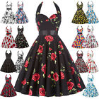 1950s 60s Retro Vintage Pinup Swing Dress Casual Floral Cocktail Party Dresses