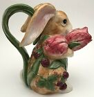 Fitz And Floyd F&F Blackberry Rabbit Floral Figural Bunny Pitcher Ewer