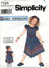Simplicity 7104 Sewing Pattern Daisy Kingdom Sew Girls Dress Matching Dolls Dres