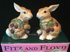 Fitz and Floyd Blackberry Rabbit Salt & Pepper Set Easter Bunny Spring
