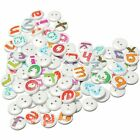 100Pcs Mixed Painted Letter Alphabet Wooden Sewing Button Scrapbooking YM