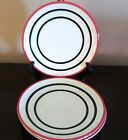 Pfaltzgraff Empire Red Salad Plates x3 Black Bands w/ Red Outer Band
