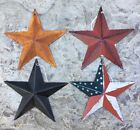 (Set of 4 ) RUSTY/BURGUNDY/AMERICAN BLACK BARN STARS 5.5