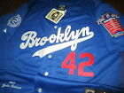 Brand New BROOKLYN DODGERS #42 JACKIE ROBINSON Dual Patch Stitched Blue Jersey