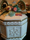 FRITZ & FLOYD VINTAGE SNOWY WOODS CANDY TRINKET BOX WITH BOW LID Free Shipping!