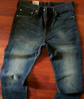 Levis 505 Straight Leg Jeans Men Size 30 X 30 Vintage Dark Distressed Wash NEW