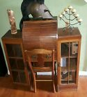 Antique Tiger Oak Roll Top Desk w Leather Olive Inlay Chair