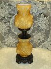 Limited Edition Fenton Honey Amber Overlay Embossed Rose Tall Lamp GTC