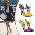 Butterfly Womens Ladies High Heel STILETTO Pointy Toe Ankle Strap Sandals Shoes