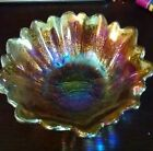 Vintage Indiana Carnival Sunflower Glass Dish Iridescent Yellow Amber Candy Bowl