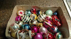 Glass Christmas Ornaments Lot 26 Vintage various Stencil ball round Scenes Small