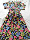 FAB FLORAL BELTED TEA DRESS RETRO VINTAGE ROMANTIC 80`S 40`S 16 LONG TALL 52L