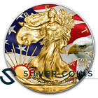 1 oz 999 Silver Flag Colorized and Gold Gilded American Eagle Coin +Box CoA