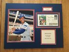 Ernie Banks Autograph Postcard Framed Mat With Babe Ruth Stamp JSA Authenticated