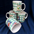 Set of 4 Fitz and Floyd Omnibus Americana Country Cupboard Coffee Mugs