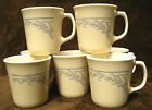 Seven (7)  CORNING by CORELLE Blue Lily Beige Suprema 'D' Handle MUGS Cream Cups