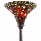 Tiffany Style Vintage Reading Floor Lamp Torchiere Star Red Stained Glass 72 H