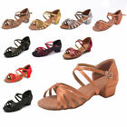 Girls Children Adult Womens Ballroom Latin Tango Dance Low Heels Salsa Shoes New
